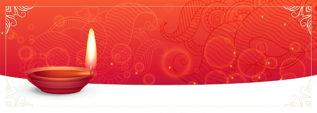 Traditional diwali festival banner with text space Free Vector