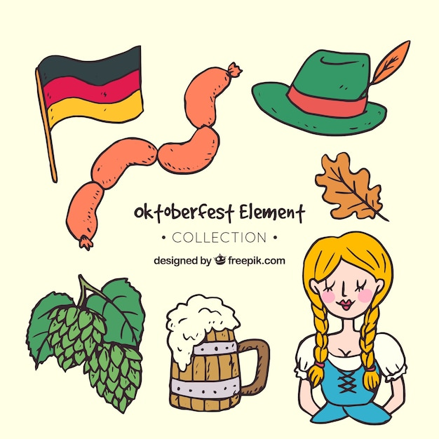 Traditional drawing of oktoberfest Free Vector