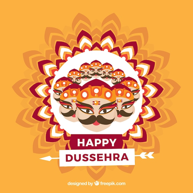 Traditional dussehra composition with flat design Free Vector