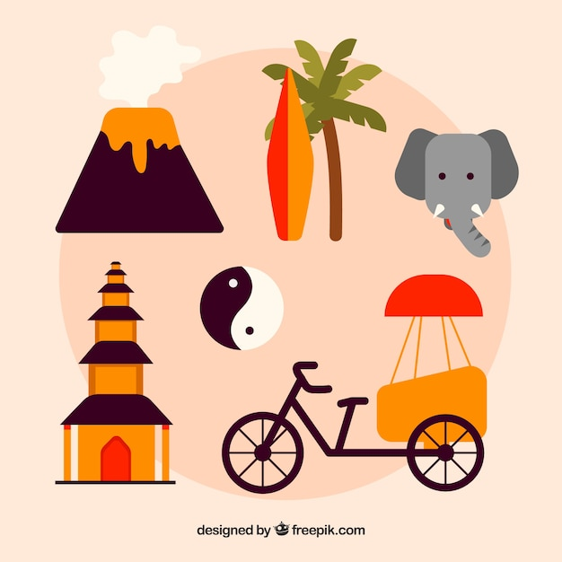 Traditional elements from indonesia Free Vector