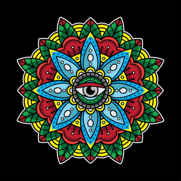 Traditional eyes mandala tattoo Premium Vector