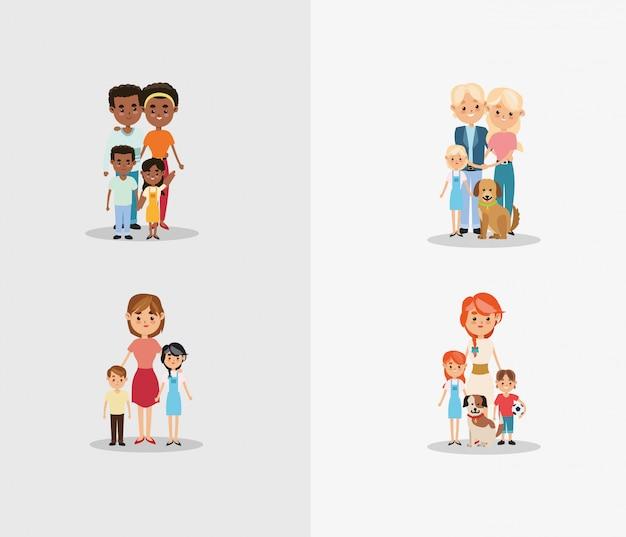 전통적인 가족 이미지 프리미엄 벡터