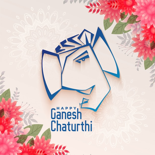 Traditional festival of ganesh chaturthi background Free Vector