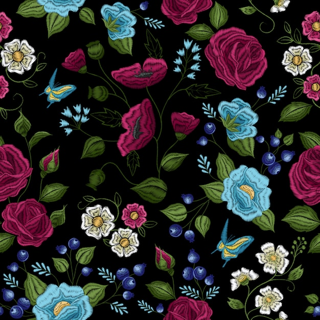 Traditional floral folk style embroidery seamless pattern Free Vector