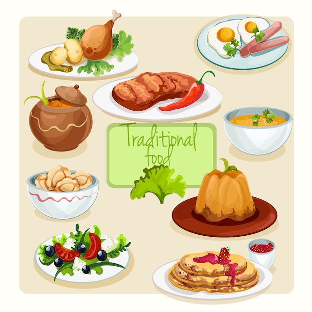 Traditional food dishes set Free Vector