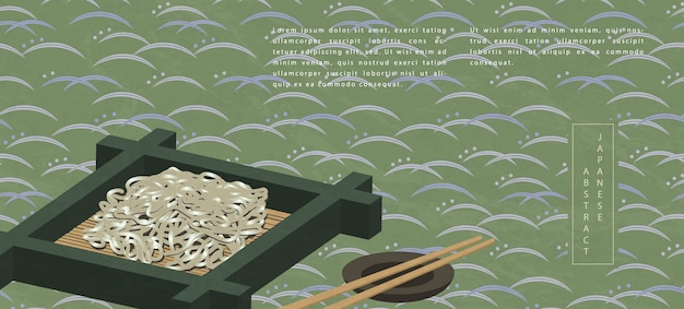 Traditional food soba cold noodle and chopsticks Premium Vector