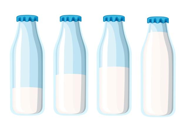 伝統的なガラスの牛乳瓶。 4つの牛乳瓶のテンプレート。白い背景のイラスト。 Premiumベクター