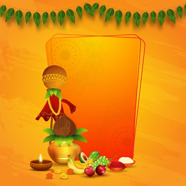 Traditional gudhi with worship pot (kalash), fruits, flowers, illuminated oil lamp, salt and chilli powder bowl on orange texture background with space for text. Premium Vector