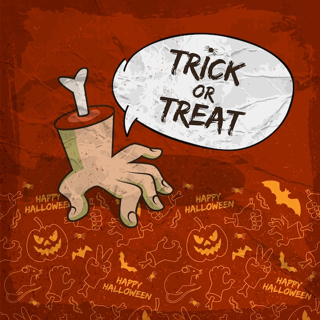 Traditional halloween background with speech cloud zombie arm and creepy line icons Free Vector
