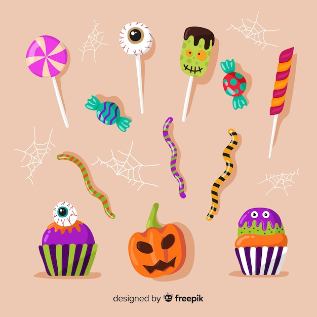 Traditional halloween candies for kids Free Vector