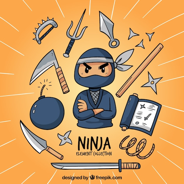 Traditional hand drawn ninja element collection Premium Vector