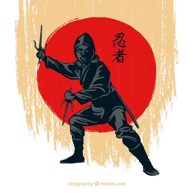 Traditional hand drawn ninja warrior background Free Vector