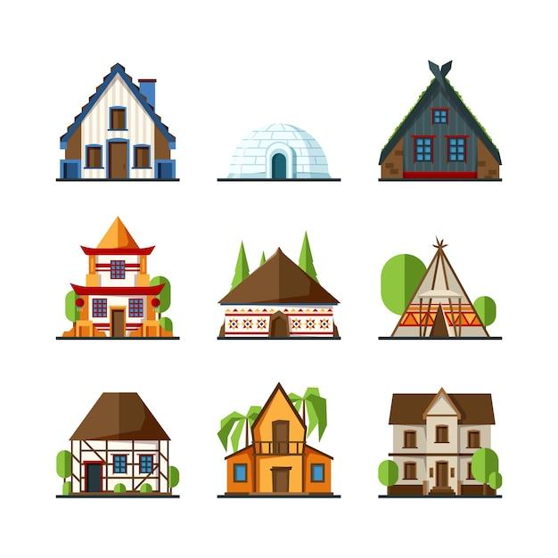 伝統的な家。インドのアジアの田舎の建物ヨーロッパとアフリカの建築物は平らな家をベクトルします。イグルーのファサードの建物、町のイラストの別の家をモデル化 Premiumベクター