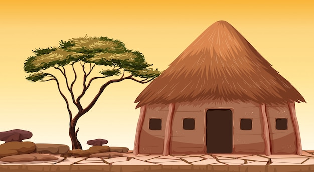 A traditional hut at desert Premium Vector