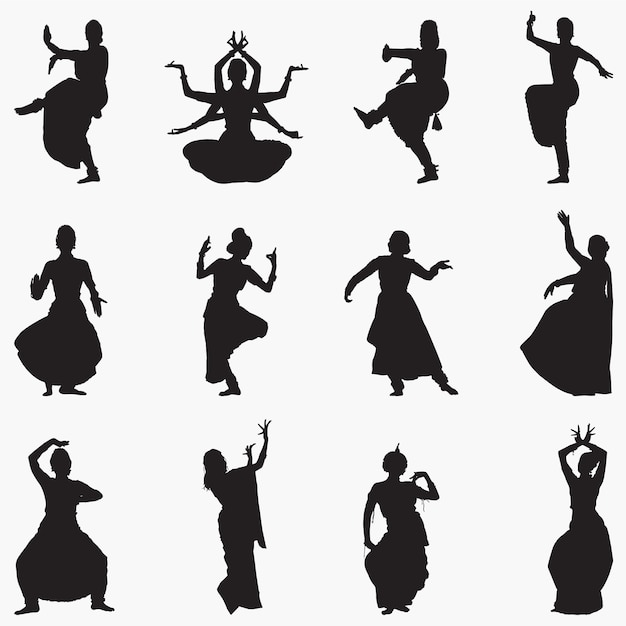 Традиционные индийские танцы силуэты Premium векторы