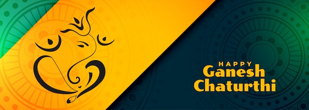 Traditional indian happy ganesh chaturthi festival banner Free Vector
