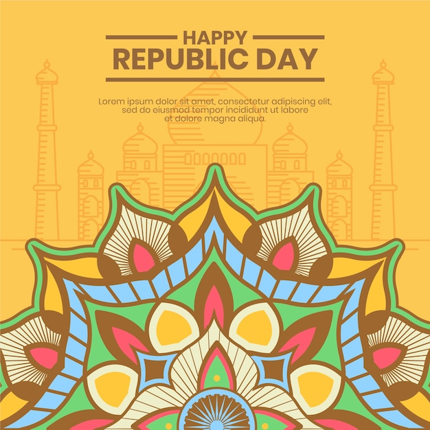 Traditional indian motifs of republic day Free Vector