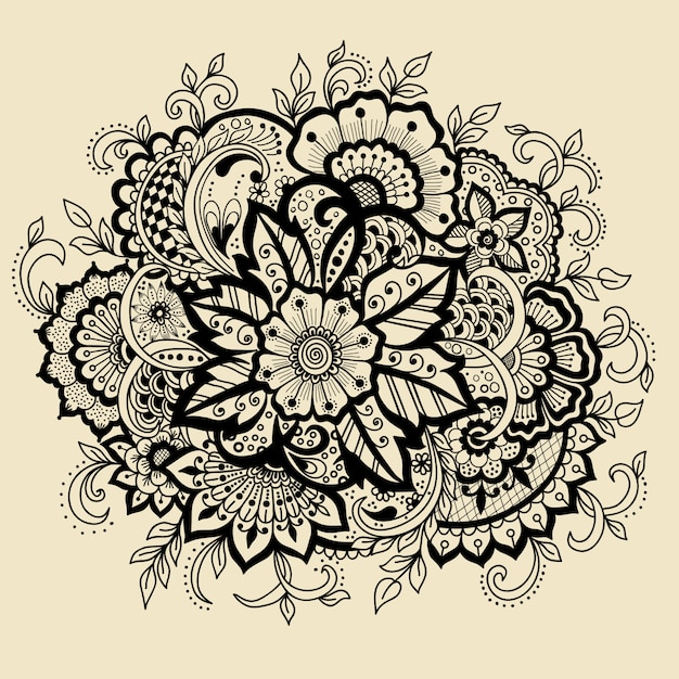 Traditional Henna Tattoo: Traditional Indian Style, Ornamental Floral Elements For