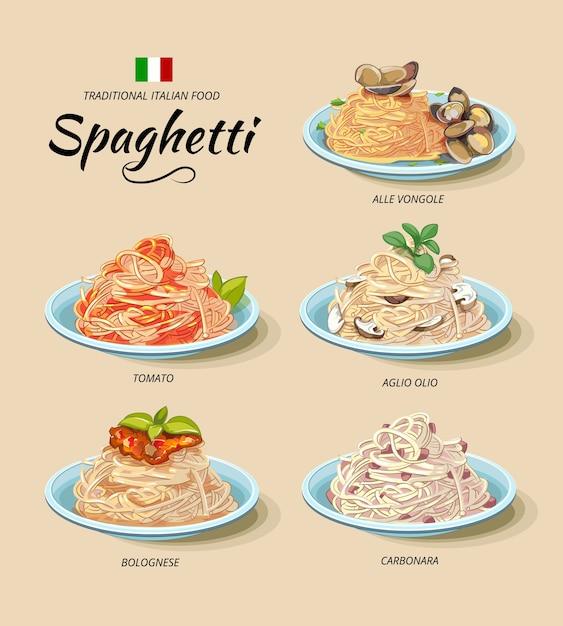 전통적인 이탈리아 요리 세트 무료 벡터