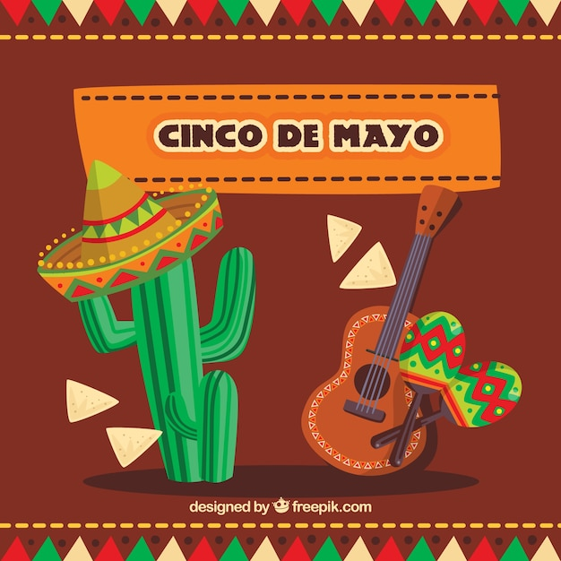 Traditional items to celebrate the cinco de mayo Vector | Free ...
