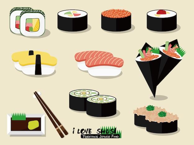 酢飯と他の食材を組み合わせた寿司の伝統的な日本食。 Premiumベクター