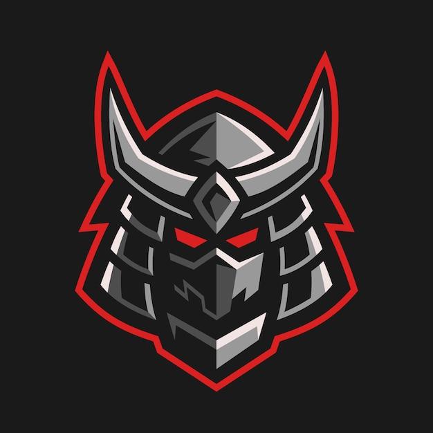 Traditional japanese samurai head logo design Premium Vector