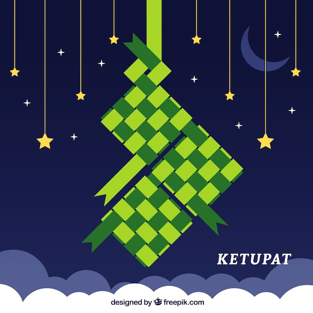 Traditional ketupat composition with flat deisgn Free Vector