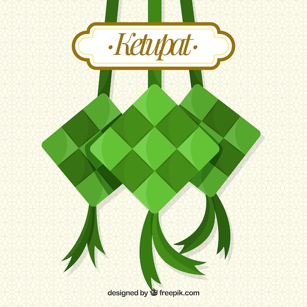 Traditional ketupat composition with flat design Free Vector