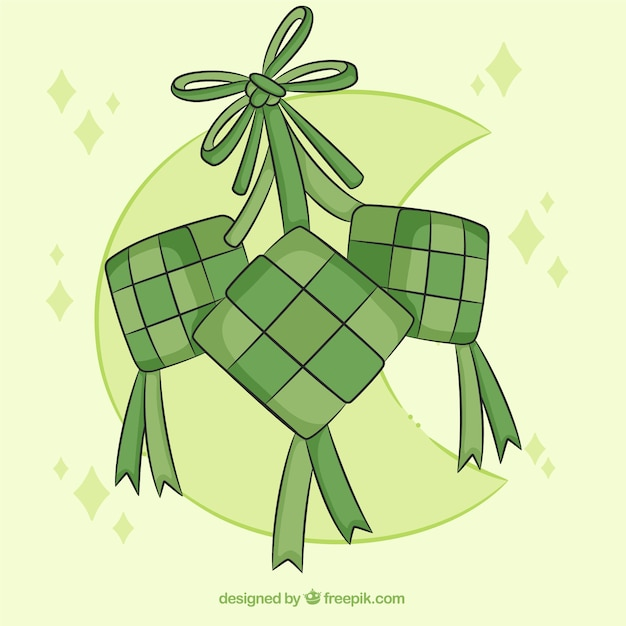 free vector traditional ketupat composition with flat design traditional ketupat composition