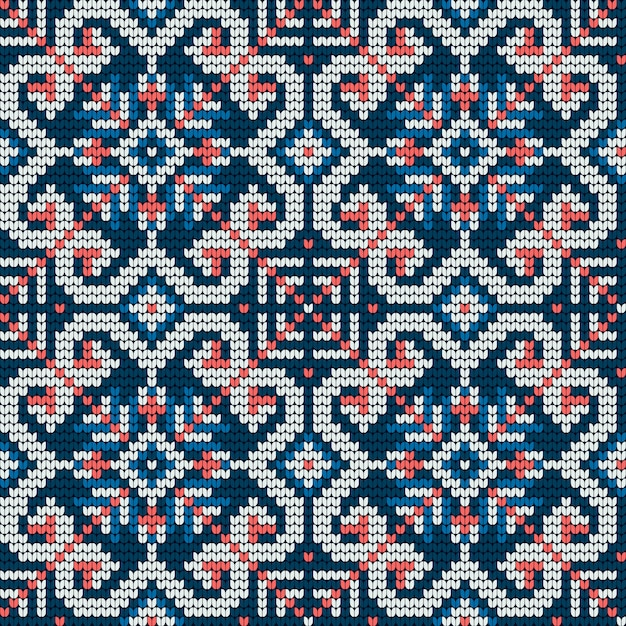 Traditional knitting pattern for ugly sweater Premium Vector