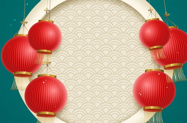 Traditional lunar year background with hanging lanterns. chinese translation happy new year Premium Vector