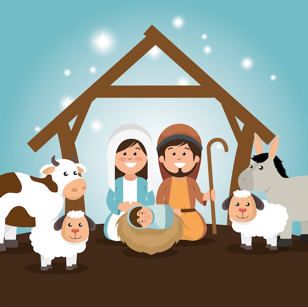 Traditional manger merry christmas Free Vector