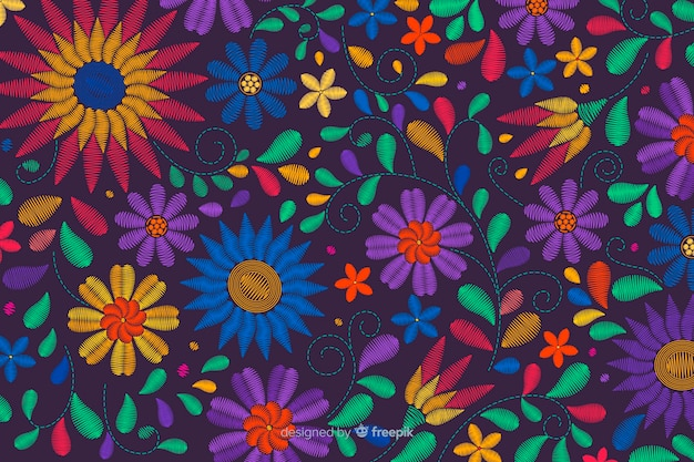 Traditional mexican embroidery background Free Vector