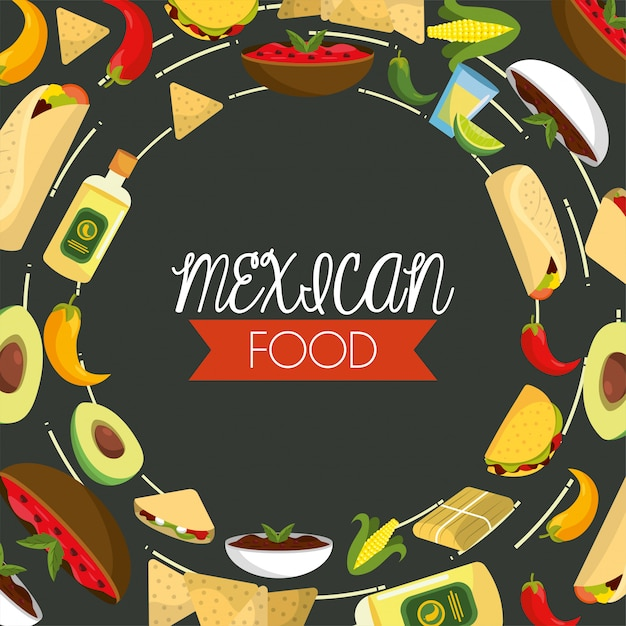 Traditional mexican food with spicy sauces and tequila Premium Vector