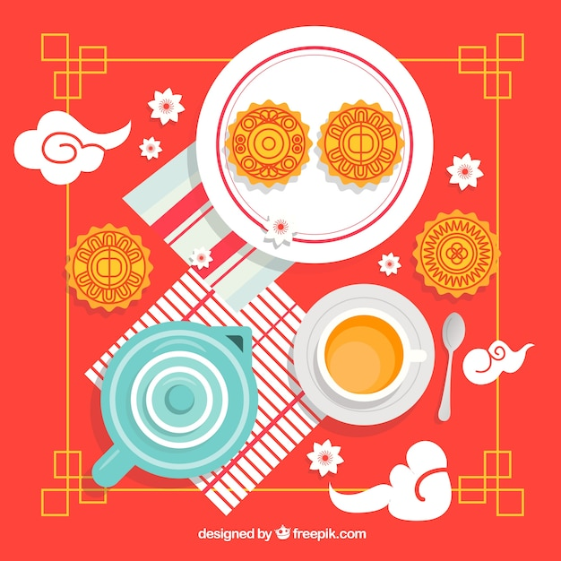 Traditional mid autumn festival's moon cake Free Vector