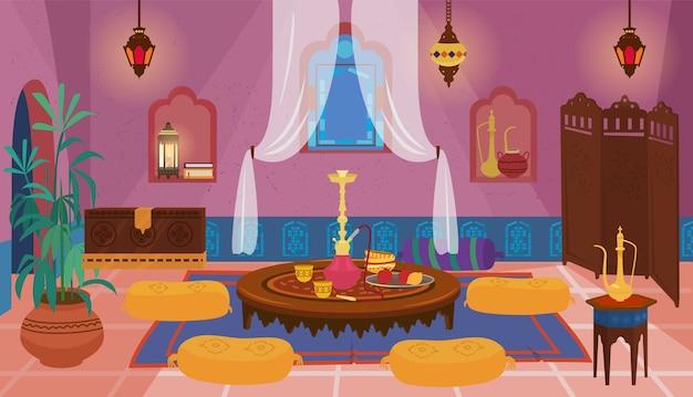 家具や装飾要素を備えた伝統的な中東のベッドルーム。 Premiumベクター