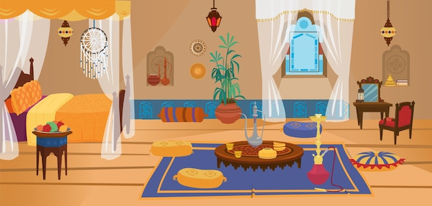 Traditional middle eastern bedroom with furniture and decoration elements. Premium Vector