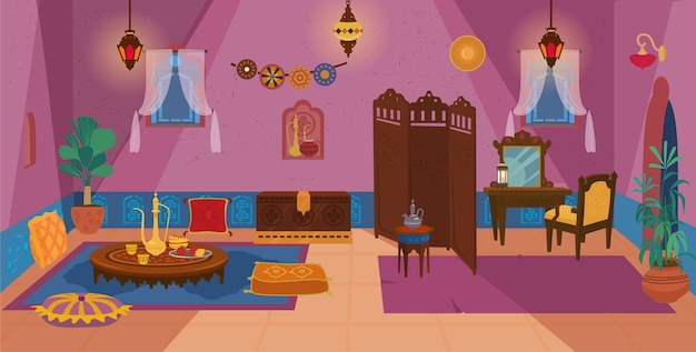 Traditional middle eastern living room interior with wooden furniture and decoration elements Premium Vector