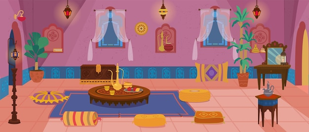 Traditional middle eastern living room interior Premium Vector