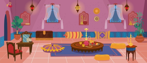 Traditional middle eastern living room with furniture and decoration elements. Premium Vector