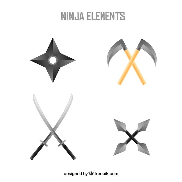 Traditional ninja element collection with flat\ design