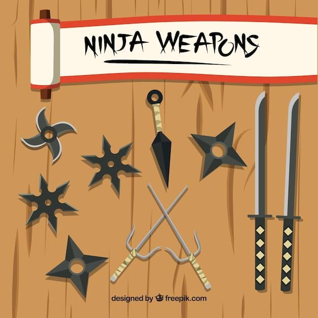 Traditional ninja element collection with flat design Premium Vector