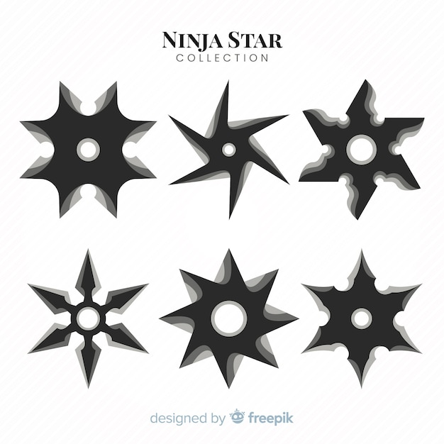 Traditional ninja star collection with flat design Free Vector