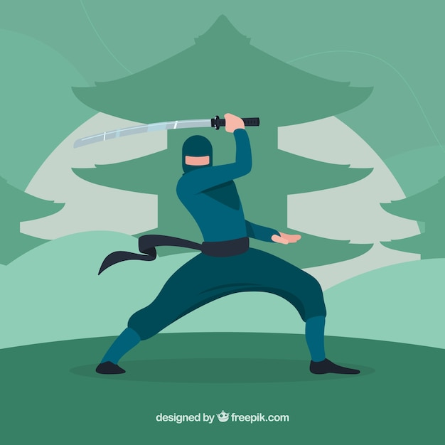 Traditional ninja warrior background with flat design Free Vector