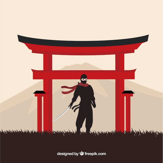 Traditional ninja warrior background with flat design Premium Vector