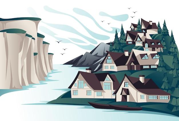 바위 해안 여름 Openspace 풍경에 전통적인 북쪽 마을. 만화. 프리미엄 벡터