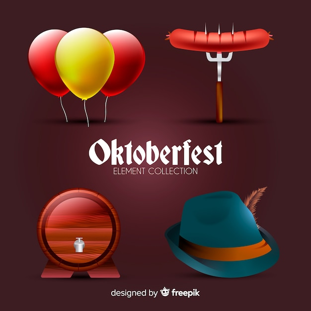 Traditional oktoberfest element collection with realistic design Free Vector