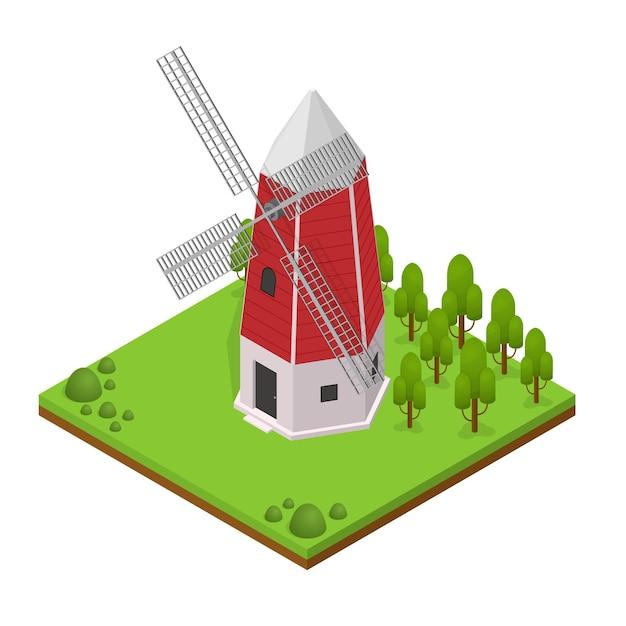 풍경과 식물 아이소 메트릭 뷰와 전통적인 오래 된 풍차 건물 프리미엄 벡터