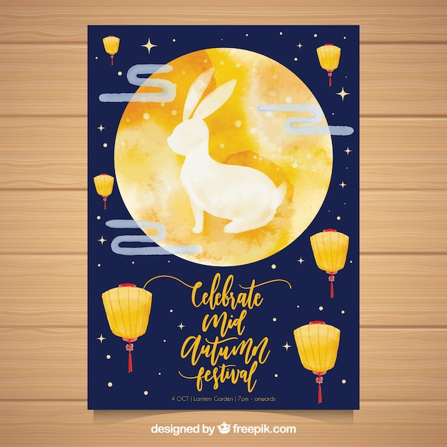 Traditional oriental party poster with watercolor style Free Vector