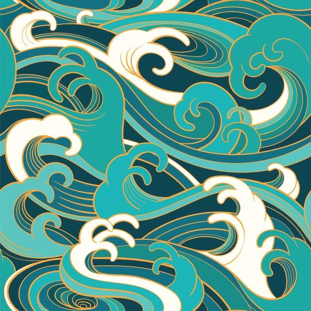 海の波と伝統的な東洋のシームレスパターン Premiumベクター